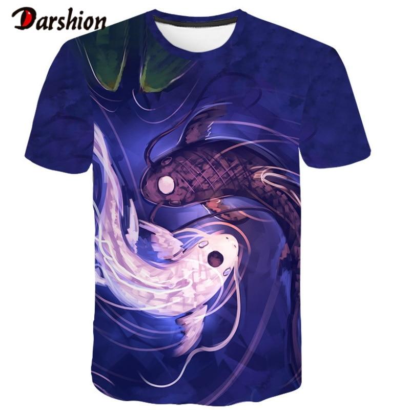 3D Tshirts Men Summer Fashion T-shirt Cool Funny T Shirt fish 3D Print Mens Hip Hop Tshirt Short Sleeves O-neck Men's Tops Tees