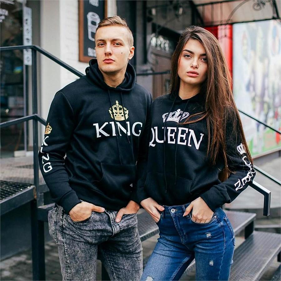 Unisex Pullover Long Sleev Hoodies King Queen Printed Sweatshirt Lovers Couples Hoodies Hooded Casual Pullovers Tracksuits