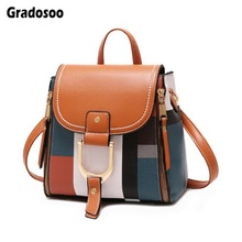 Gradosoo Plaid Backpack Women Leather Small  Shoulder Bag Female Crossbody For Mini Schoolbag LBF607