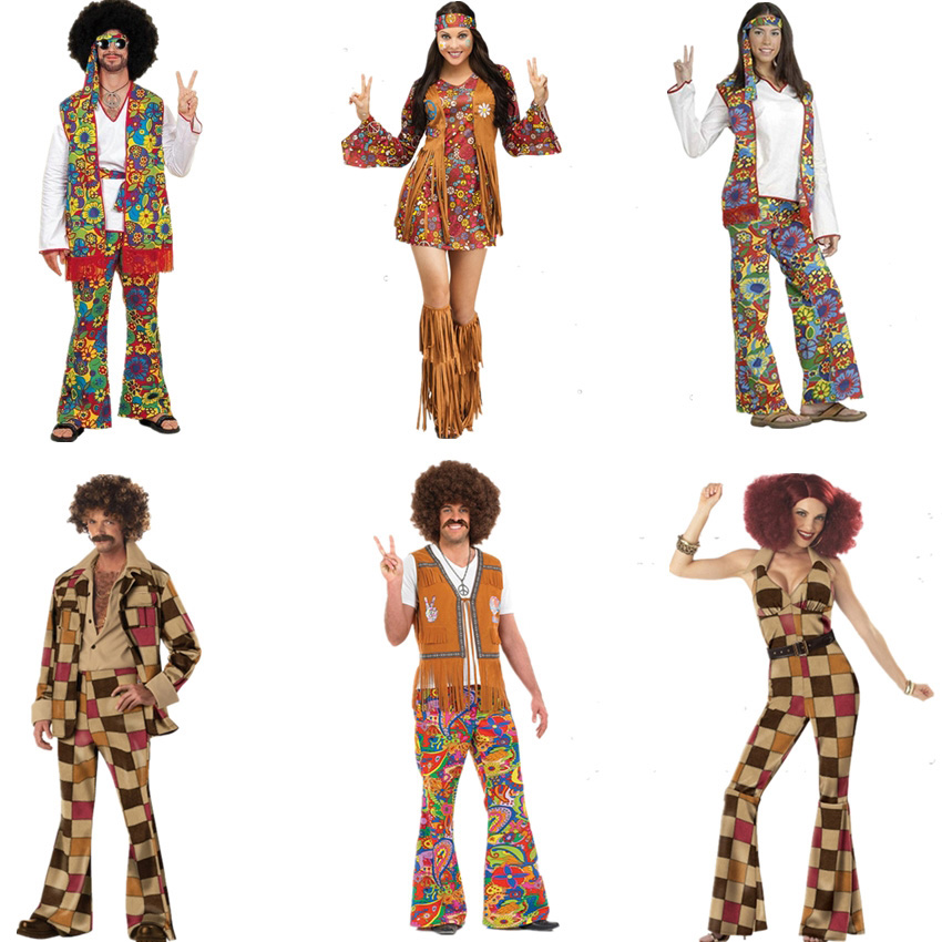 Retro 60s 70s Hippie Cosplay Carnival Halloween Costume For Men Women Fancy Disguise Clothing Party Fringed Native Night Club