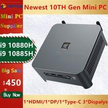 Topton güçlü 10Th Gen Mini bilgisayar Intel i9-10880H 10885H 8 çekirdek 16 konu oyun PC HDMI DP ve tip C 3 * ekran Mini PC