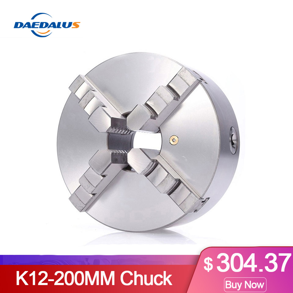 4-Jaw K12-125mm Self-centering Linkage Lather Chuck with Chuck Wrench for CNC Rounter Engraving Milling Machine