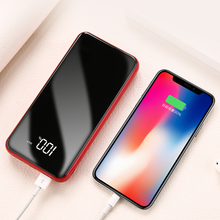 10000mAh Micro Power Bank Fashion Mirror Portable LED Mobile Phones Charger External Battery Pack Powerbank for IPhone Xiaomi