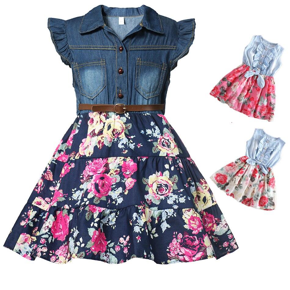 Meninas denim vestido floral verão vestido de festa com cinto crianças voando manga curta roupas casuais da menina do bebê crianças moda outfit