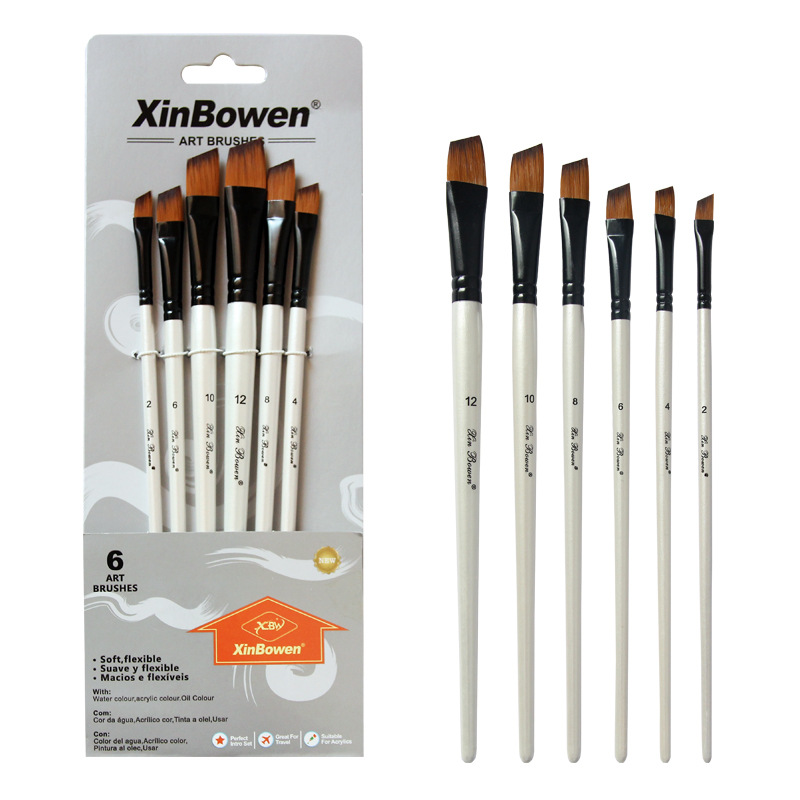 6 pcs/set Two-tone Nylon hair brush Pearl white wood pole for oil paint for hair Watercolor brush for beginners Art paint brush