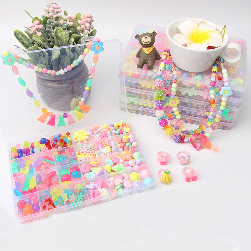 Children Bead Toy Educational Handmade DIY For Making Material Box Set Wear Beads Necklace Bracelets 24 Lattice Beaded Bracelet