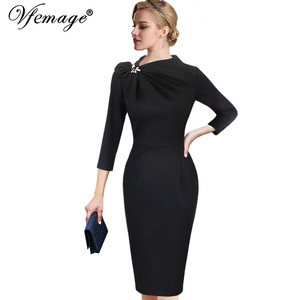 Image 2 - Vfemage Womens Colorblock Floral Solid Pleated Bow Asymmetric Neck Slim Work Office Business Cocktail Party Sheath Dress 18333