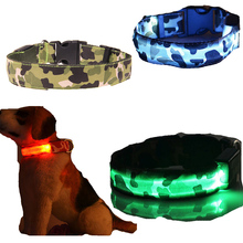 Transer Pet Dog Supplies Anti-Lost Camouflage Led Light Dog Collar For Small Large Medium Dogs lost light