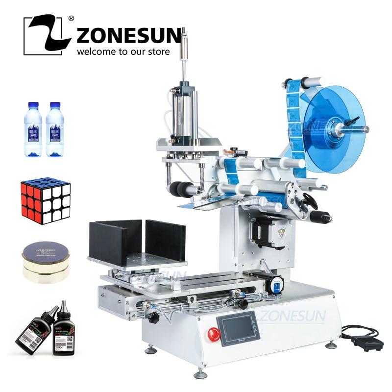 ZONESUN XL-T803 반자동 평면 플라스틱 캔 루빅 큐브 샴푸 물 우유 과즙 짜는기구 병 라벨링 기계 Labeller