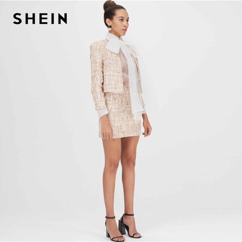 Image 3 - SHEIN Khaki Open Front Tweed Elegant Spring Jacket Coat Women  Clothing 2019 Autumn Fashion Long Sleeve Ladies Party JacketsJackets
