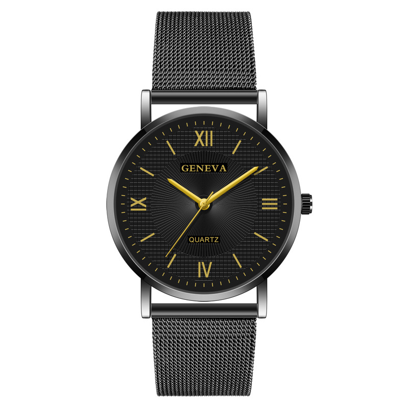 Cross-border Shopee Hit Men Watch Geneva Mesh Belt Contracted Leisure Quartz Watches Manufacturers Selling