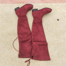 over knee women winter womens Long Flat Bottom Slope Increase Thin High Elastic Woman boots