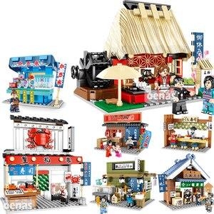 Sembo City Architecture японская мини уличная еда суши Takoyaki Ramen магазин Чайный домик Модель Строительный блок развивающие игрушки подарок
