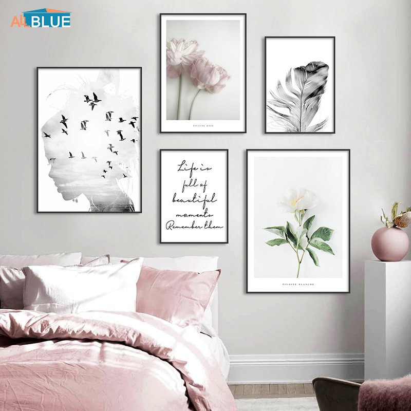 Nordic Wall Art Painting Flowers Botanical Canvas Poster Girl Silhouette Feather Print Picture Minimalist Living Room Home Decor