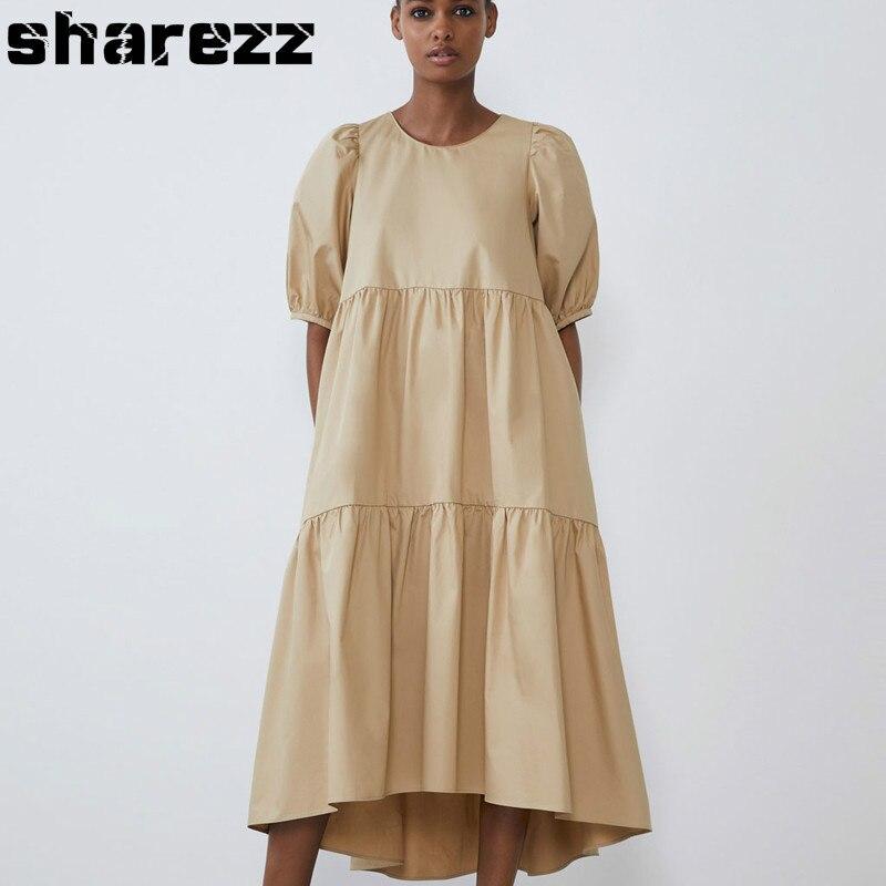 Однотонное платье с круглым вырезом, женское модное ассиметричное длинное платье, элегантное платье из поплина, женское повседневное свободное платье рубашка Платья      АлиЭкспресс