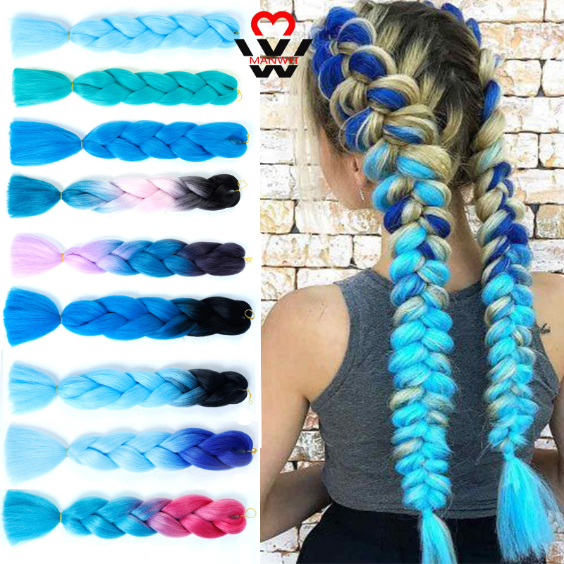 MANWEI Synthetic Braids Synthetic Braiding Hair Extensions For Woman Crochet Braids Kanikalon Hair Crotchet For African American