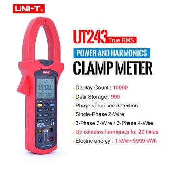 UNI-T UT243 mierniki mocy i harmoniczne mierniki cęgowe współczynnik mocy miernik energii czynnej interfejs USB Test napięcia prądu przemiennego tanie i dobre opinie Elektryczne CN (pochodzenie) 303mm * 112mm * 39mm 150V 300V 600V + -(1 2 +5) 0-40C 2 5KG AC 50A 250A 1000A + -(2 +5) Tylko cyfrowy
