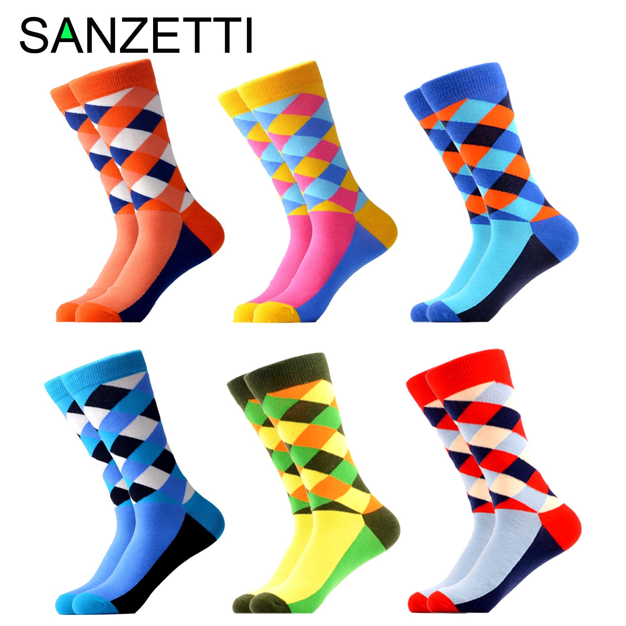 SANZETTI 6 Pairs/Lot Casual Socks Men's Happy Combed Cotton Bright Socks Fruit Pattern Comfortable Fun Party Birthday Gift Socks
