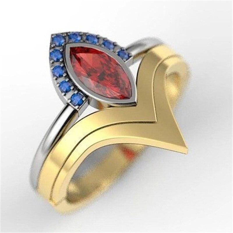 Модные красные овальные зеленые золотые Винтажные Ювелирные Кольца для женщин аксессуары Синие стразы кольца женские кольца