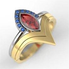 Moda vermelho oval zircão anel feminino ouro vintage jóias anéis para feminino acessórios azul strass anel feminino senhoras anéis