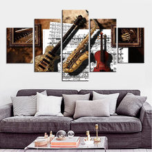 Music equipment Poster Canvas Painting Wall Art Pictures Frame Decor 5 Piece Home Décor(China)