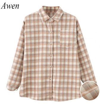 Flannel Thick Plaid Shirt Long Sleeve Turn Down Collar Cotton Strong Warmth Retention Coat Loose 3Colors Casual