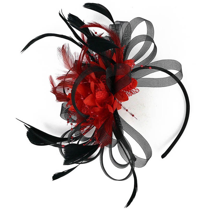 Elegant Lady Feather Fascinator Cocktail Hat Hairpins For Wedding Party Hair Clip French Mesh Veil Hair Band Hair Accessories