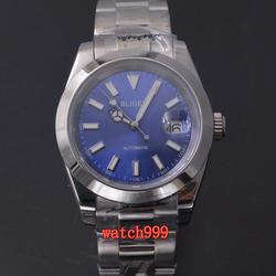 Nowe mody BLIGER 40mm niebieska tarcza szafirowe szkło luminous data automatyczny męski cały stalowy zegarek na co dzień