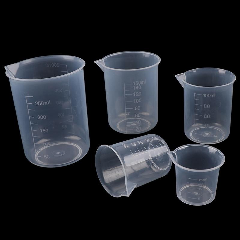 2Pcs 250ml/150ml/100ml/50ml/25ml Transparent Kitchen Laboratory Plastic Volumetric Beaker Measuring Cup