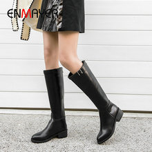 ENMAYER 2019 Winter Boots Women Zip Basic Round Toe Square Heel Thigh High Boots Short Plush Soli  Winter Shoes Women Size34-43 недорого