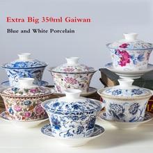 350 мл Экстра большой Sancai GaiWan Китайский Старый Пекин чайная чаша Цзиндэчжэнь синий и белый фарфор чайная чашка и блюдце набор