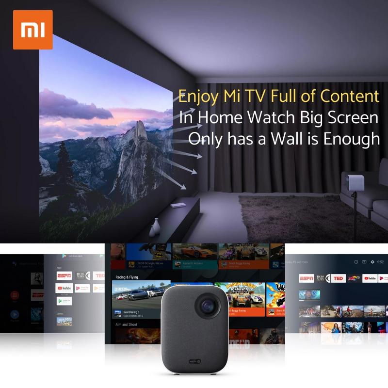 "Nova versão global xiaomi mijia projetor mini 60 - 120 ""hd completo 1080p dlp 500ans dolby áudio android 9 tv google assistente-1"
