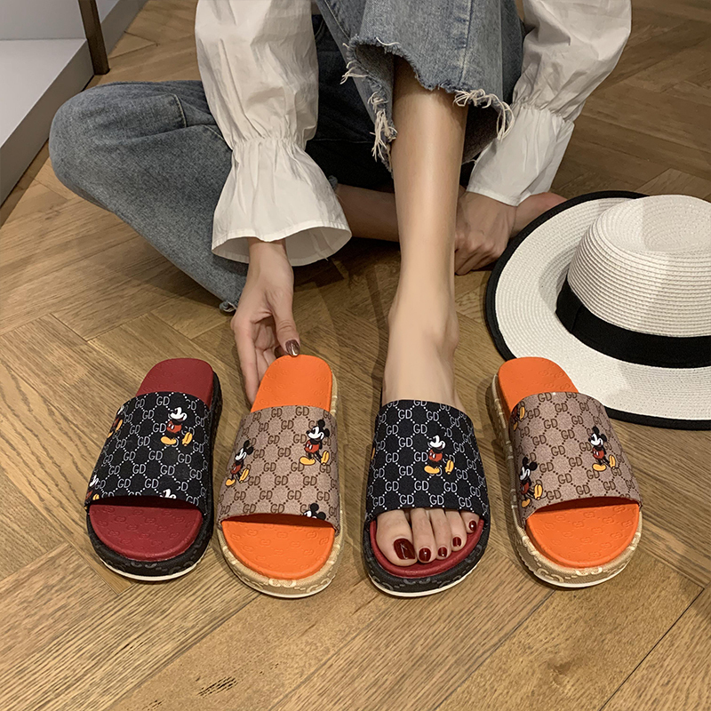 Women's Sandals Sandals Fashion Open Toe Printed Sandals Summer Beach Shoes Khaki Black Casual Arch Support Sandals Low Heels|Slippers| - AliExpress