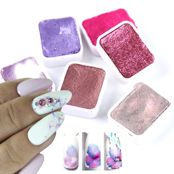 6/12pc Nail Art Pigment Set Painting Flowers Watercolor Paint Charming Mirror Glitter Powder Blooming Shimmer Solid Dust LA1838- 1