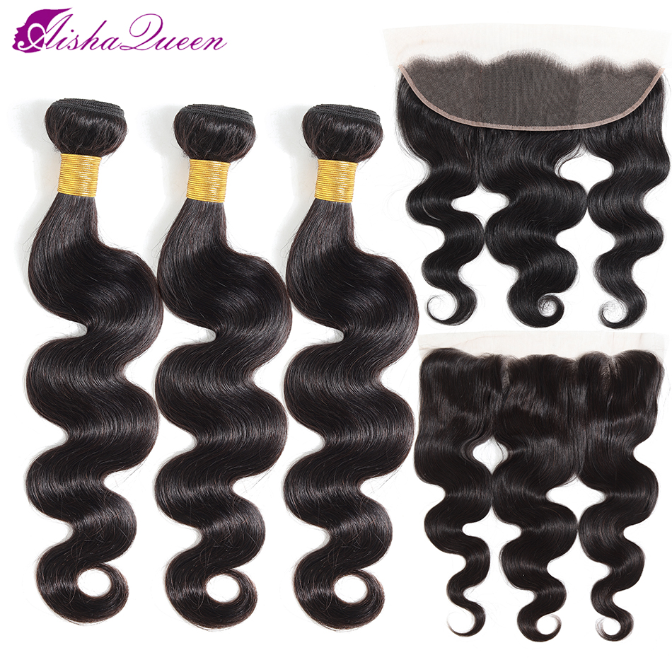 Aisha Queen Hair 13x4 Lace Frontal Closure With Bundles Non-Remy Brazilian Body Wave Human Hair Bundles With Frontal Closure
