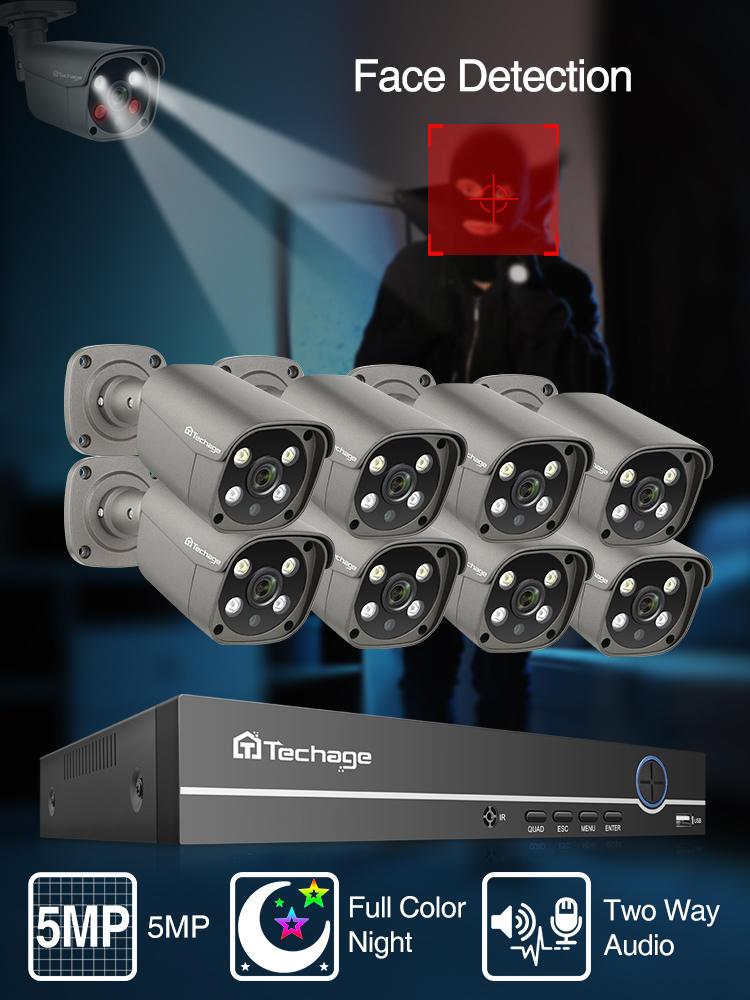 Security-Camera-System Audio-Ai Face-Detect Video-Surveillance CCTV Techage Outdoor 5MP