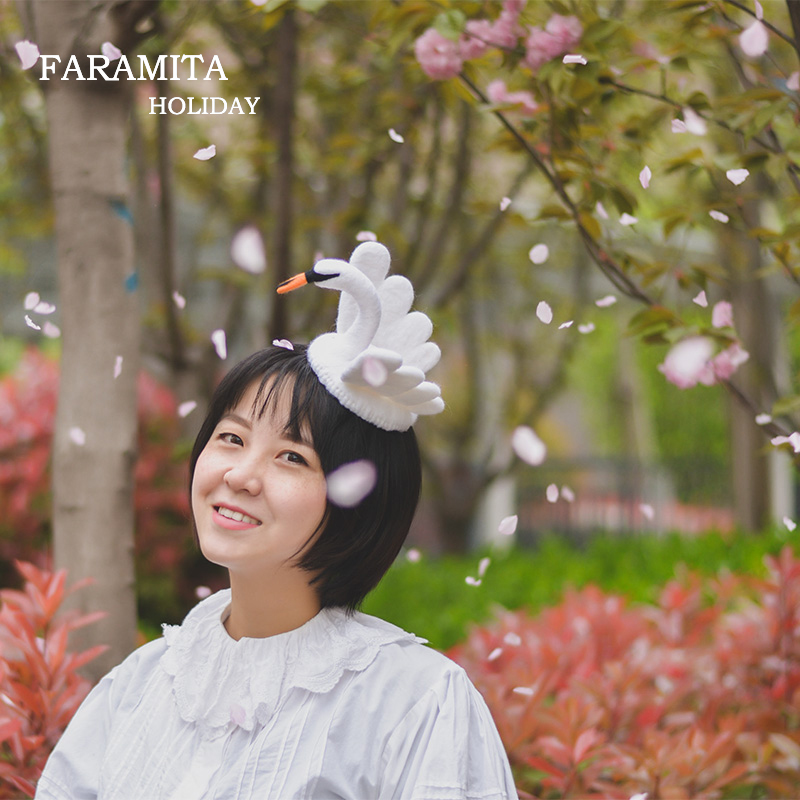 Faramita Holiday Women Girls Kids White Swan 3D Headwear Hairpin 100% Wool Felt Handmade Decoration Tiaras Magic Hair Clip Vogue