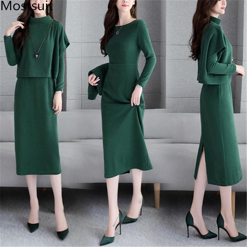 2019 Autumn Two Piece Sets Outfits Women Plus Size Short Tops And Long Dress Suits Korean Elegant Office Fashion 2 Piece Sets