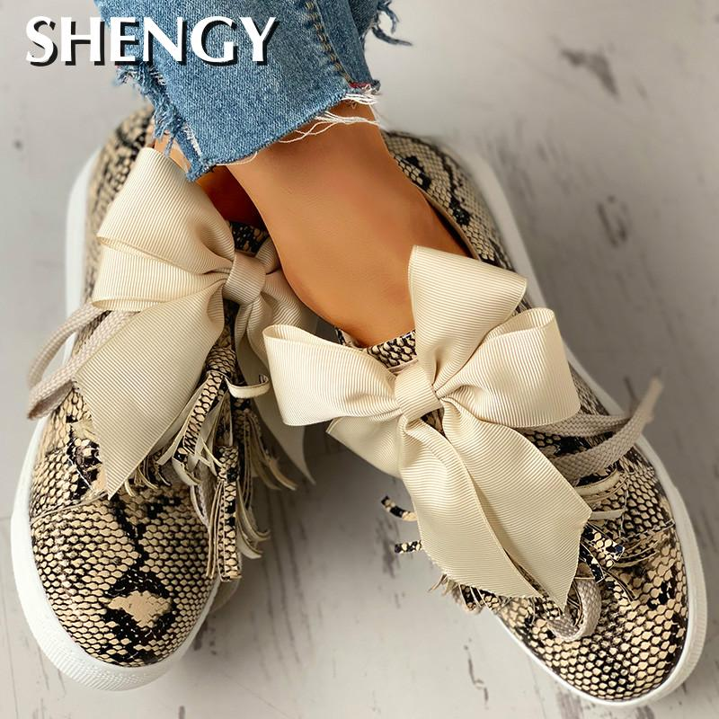 New Women Sneakers Print Bowknot Tassel Sneakers Bowknot Design Butterfly Knot Ladies Flat Shoes Dropshipping
