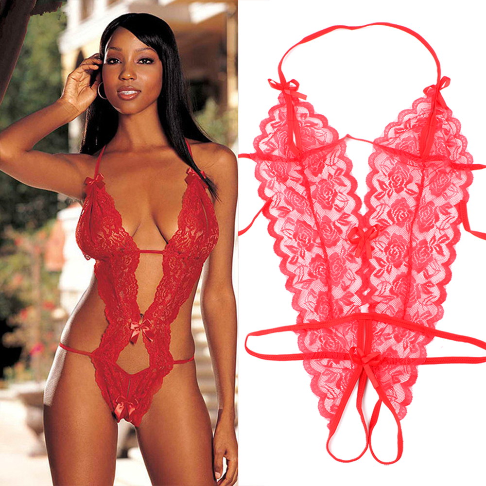 Women Sexy Lace Lingerie Siamese Perspective Three-Point Underwear G-string Babydoll Sleepwear Erotic Lingerie Transparent 1