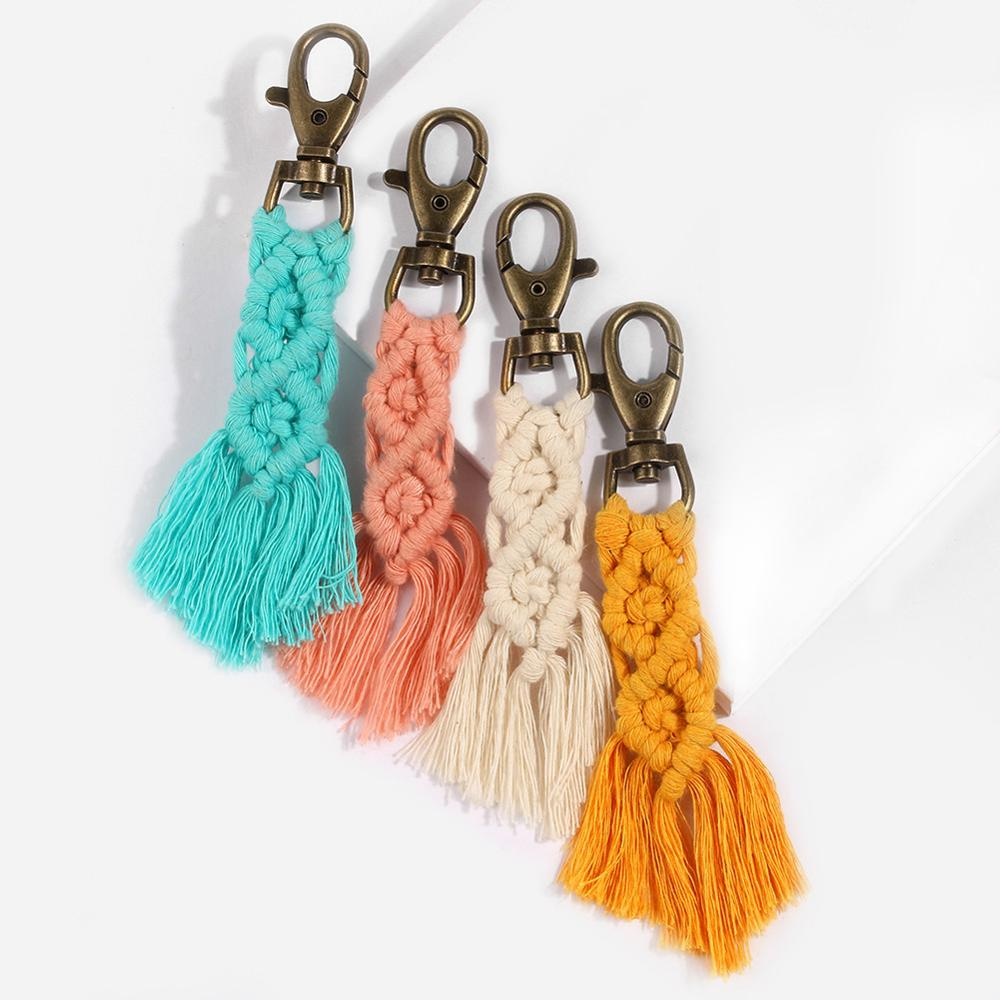 Artilady Tassel Keychain For Women Boho Key Chains Key Ring Macrame Bag Charm Jewelry Gift For Friends Drop Shipping