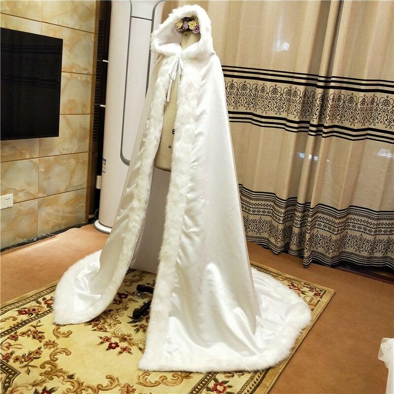 Long Wedding Party Cloak Women Coat Faux Fur Bride Winter  Cape Hooded