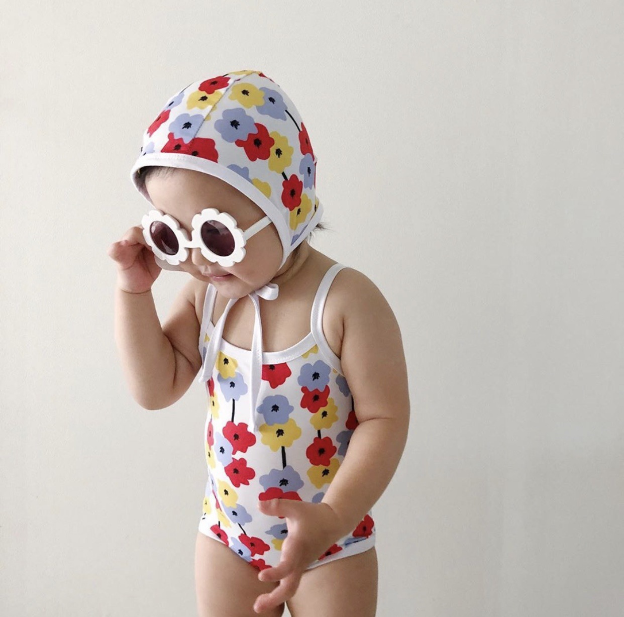 Newborn Infant Baby Boy And Girl Sleeveless Sling Swimsuit Toddler Kid Cotton Flower Pattern Printed With Swimming Cap