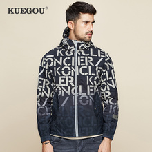KUEGOU 2019 Autumn Print Black Hooded Casual Jacket Men And Coats For