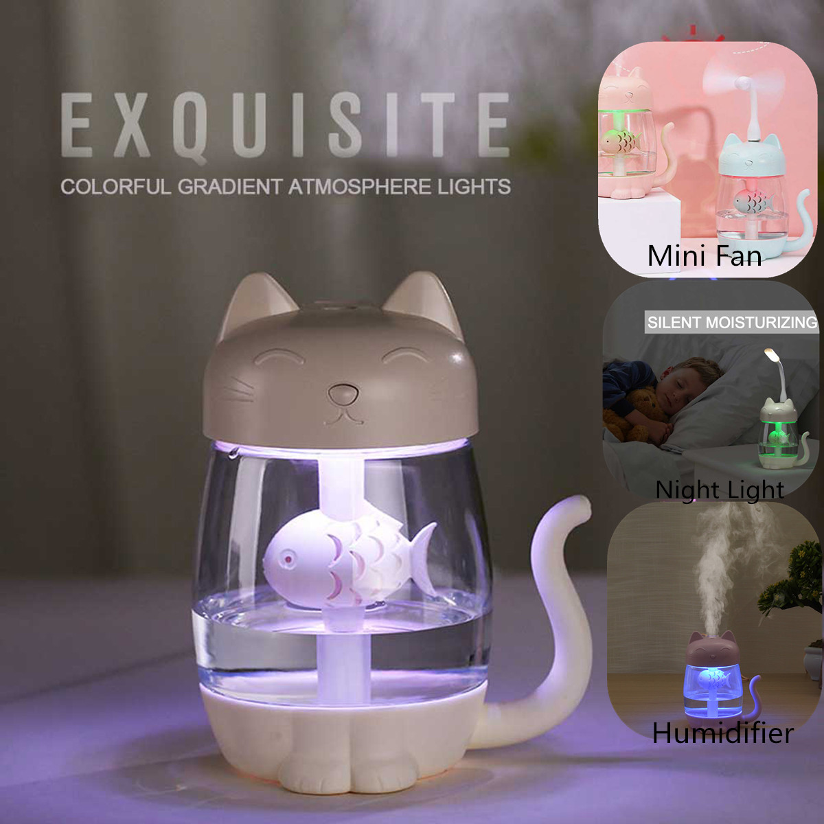 3 In 1 Ultrasonic Humidifier Essential Oil Diffuser Ultrasonic Air Humidifier 350ml Cat Cool Mist Mini Fan LED Night Light
