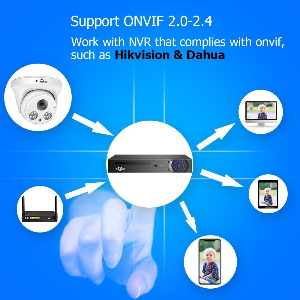Image 5 - Hiseu H.265 IP Camera 5MP 1080P POE IP Camera CCTV ONVIF Dome Security Camera P2P 2MP View APP Windows for NVR Wired CCTV SystemSurveillance Cameras   -