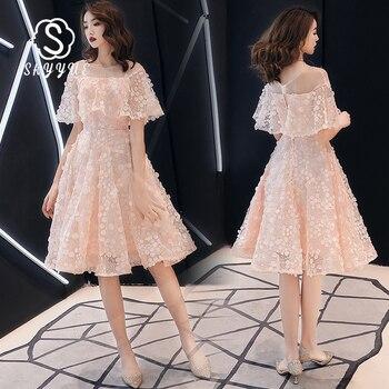 Skyyue Pink A-Line Prom Dress FR459 O-Neck Half Sleeve Vestidos De Gala Appliques Pattern Party Gowns Zipper Knee-Length Dress