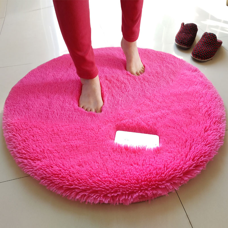 European Long Hair Round Carpet Bedroom Plush Soft Carpets For Living Room Anti-slip Floor Bedside Mats Washable Carpet Rugs
