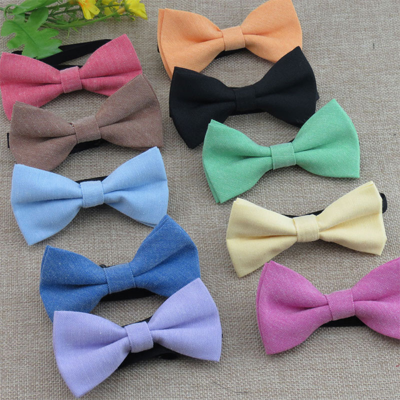 Children Adjustable Cotton Bow Tie Classic Kid Boys Grils Ties Baby Fashion Accessories Candy Solid Color Black Blue Pets Bowtie