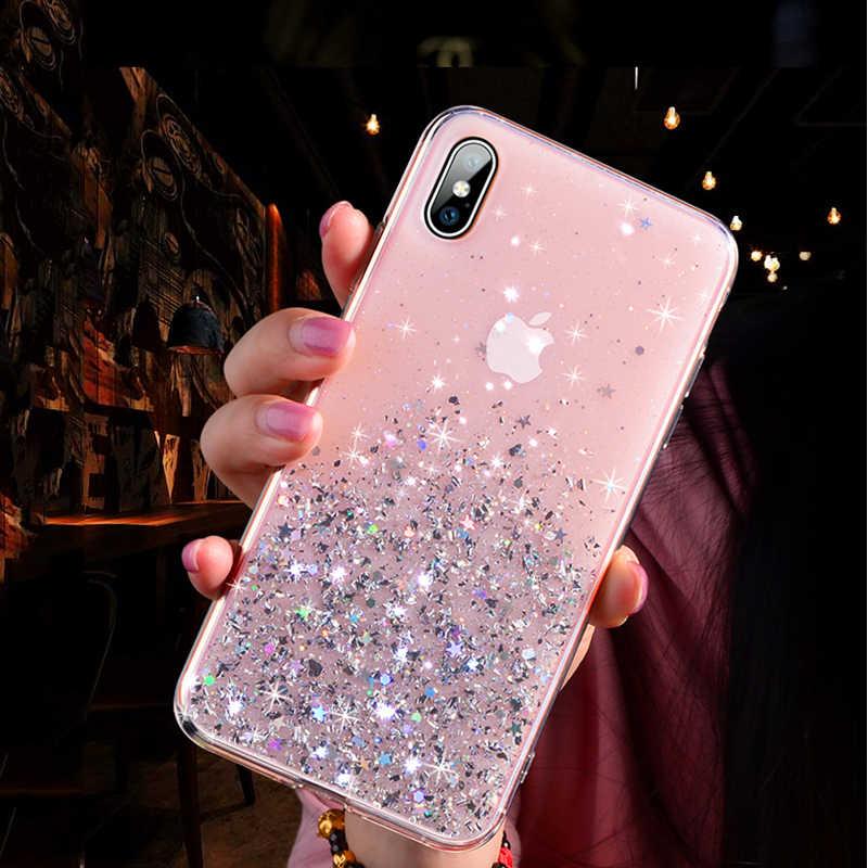 Lovebay Glitter Bling Sequins สำหรับ iPhone 11 8 7 Plus 6 6s CLEAR Soft TPU Fundas สำหรับ iPhone 11 Pro X XR XS MAX ปกหลัง